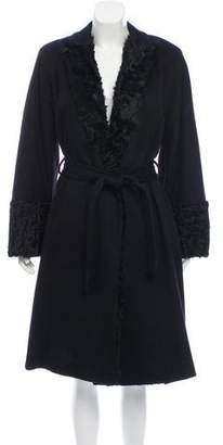 Gianfranco Ferre Lamb-Trimmed Cashmere Coat