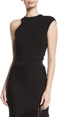 CUSHNIE One-Shoulder Cap-Sleeve Jersey Knit Top