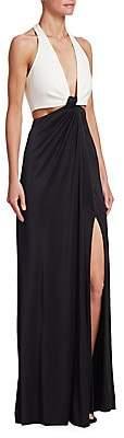 Galvan Women's Stretch Jersey Halter Gown