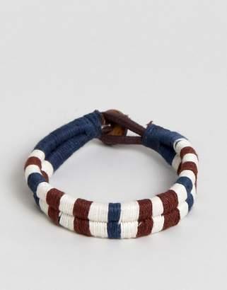 Jack and Jones Cotton Leather Woven Bracelet