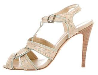 Manolo Blahnik Peep-Toe Ankle Strap Sandals