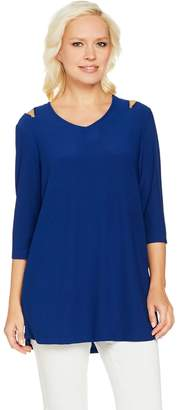 Dennis Basso Caviar Crepe Cold Shoulder Top with Zip Detail