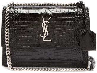 Saint Laurent Sunset crocodile-effect leather cross-body bag