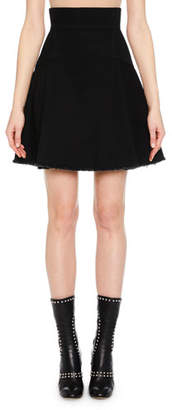 Alexander McQueen Full A-Line Denim Mini Skirt w/ Raw-Edge Hem