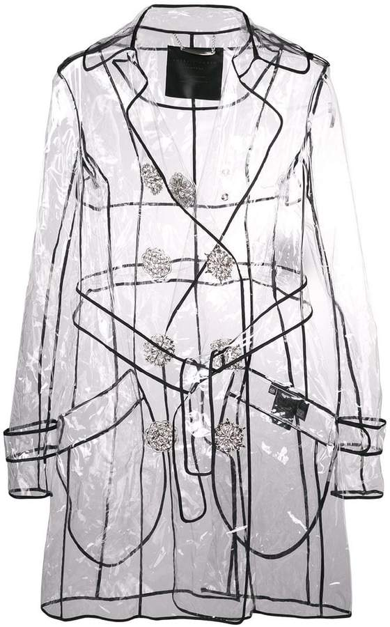 double-breasted transparent jacket