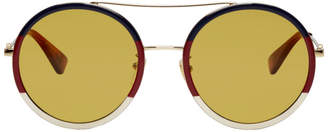 Gucci Multicolor Web Block Pilot Sunglasses
