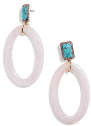 BaubleBar Tristine Drusy & Oval Drop Earrings