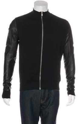 Rick Owens Leather-Trimmed Bomber Jacket