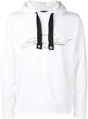 Emporio Armani lettering logo print hoodie