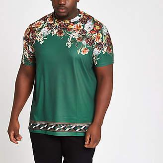 River Island Mens Big and Tall Green floral slim fit T-shirt