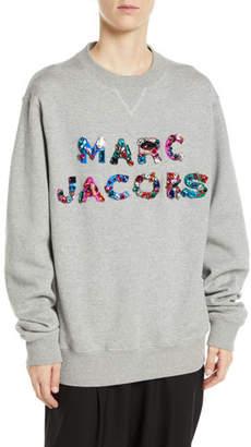 Marc Jacobs Lux Crystal-Logo Crewneck Cotton Sweatshirt