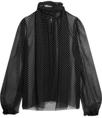 Dolce & Gabbana - Pussy-bow Polka-dot Silk-chiffon Blouse - Black $995 thestylecure.com