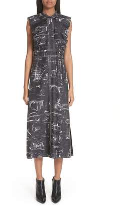 Burberry Parker Landmark Print Silk Dress