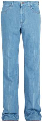 Gucci Linen-denim flared trousers