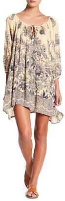 Love Stitch Front Tie Print Gauze Dress
