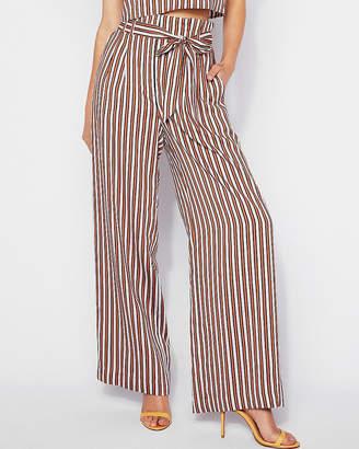 Express Petite High Waisted Stripe Tie Waist Wide Leg Pant