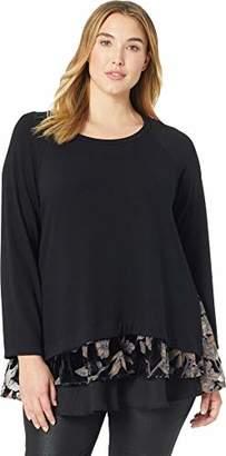 Karen Kane Women's Plus Size Burnout Velvet Inset Sweater