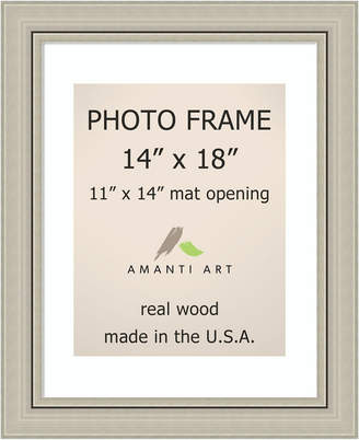 "Amanti Art Romano Silver 14"" X 18"" Matted to 11"" X 14"" Opening Wall Picture Photo Frame"