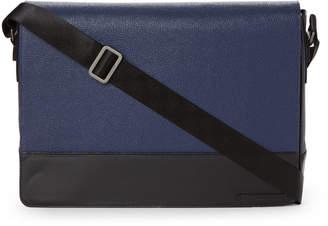 Calvin Klein Navy Laptop Leather Messenger Bag