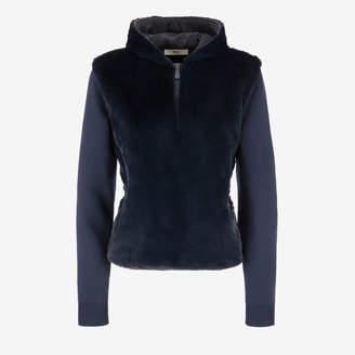 Bally Faux Fur Hooded Jumper Blue, Women's polyester and wool jumper in ink