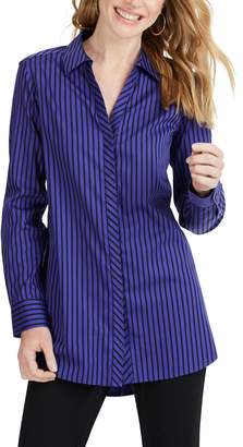 Foxcroft Vera Holiday Stripe Tunic Shirt