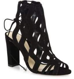 Alexandre Birman Loretta Suede Block-Heel Cage Sandals