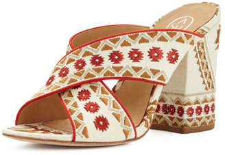 Ash Adel Embroidered Crisscross Mule Sandal, Off White/Coral $195 thestylecure.com