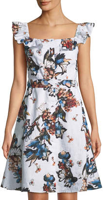 Neiman Marcus Button-Front Floral Fit-&-Flare Dress