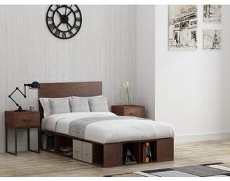 Mainstays Metal and Wood Twin Platform Bed in Reclaimed Cherry finish