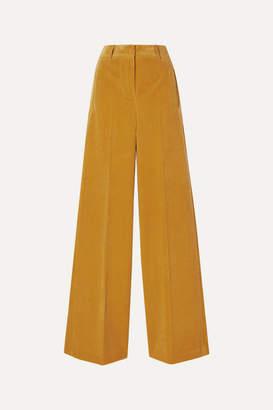 Akris Flore Cotton And Cashmere-blend Corduroy Wide-leg Pants - Saffron