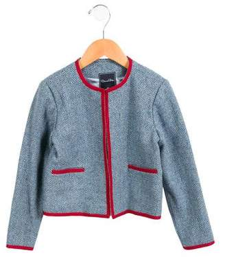 Oscar de la Renta Girls' Wool Herringbone Jacket