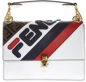Fendi Kan I White Leather Bag With Mania Logo