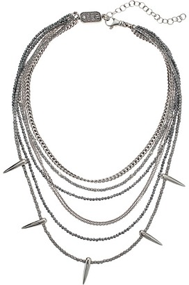 King Baby Studio - Multi Layered Necklace w/ Hematite, Silver Chain Spikes Necklace $725 thestylecure.com