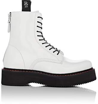 R 13 Women's Single Stack Patent Leather Lace-Up Boots