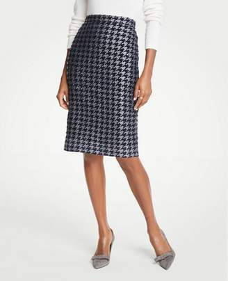 Ann Taylor Shimmer Houndstooth Pencil Skirt