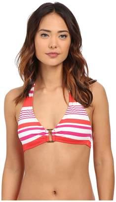 Lauren Ralph Lauren Marina Stripe Ring Front Halter w/ Removable Cup Top Women's Swimwear