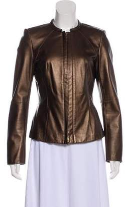 Lafayette 148 Long Sleeve Leather Jacket