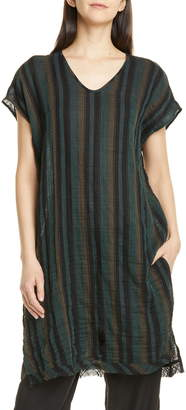 Eileen Fisher Stripe Raw Hem Organic Cotton Tunic