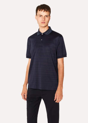 Paul Smith Men's Slim-Fit Navy Striped Cotton Polo Shirt