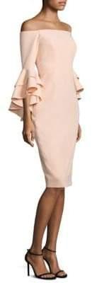 MILLY Selena Italian Cady Ruffle Off-The-Shoulder Bell Sleeve Dress