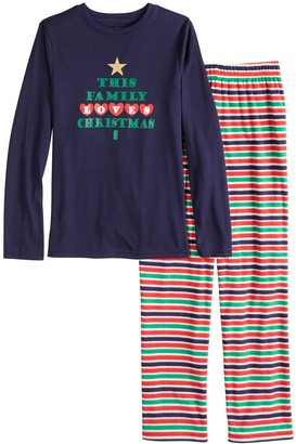 "Boys 4-20 Jammies For Your Families ""This Family Loves Christmas"" Top & Microfleece Striped Bottoms Pajama Set"