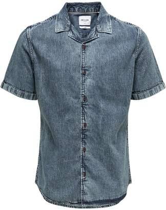 ONLY & SONS Acid Wash Denim Short Sleeve Sport Shirt