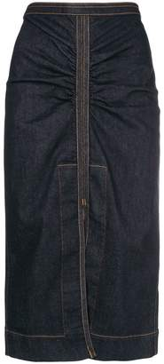 No.21 denim slit-detail skirt