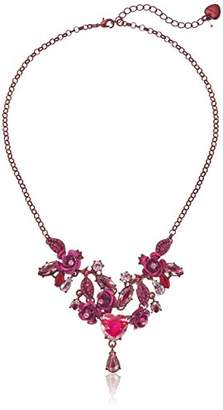 Betsey Johnson Roses Floral and Heart Frontal Necklace