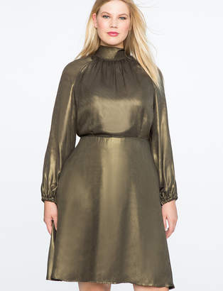 ELOQUII Fit and Flare Foil Shine Dress