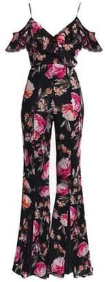 Nicholas Off-The-Shoulder Ruffled Floral-Print Silk-Georgette Jumpsuit