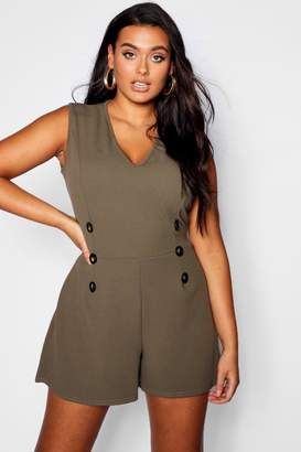 boohoo Plus Crepe Horn Button Detail Playsuit