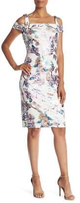 ECI Cold Shoulder Floral Foil Patterned Dress