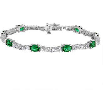 FINE JEWELRY Simulated Emerald and Cubic Zirconia Sterling Silver Over Brass Bracelet