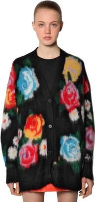 Miu Miu Roses Intarsia Mohair Knit Cardigan